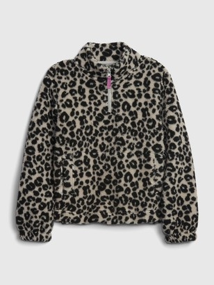 Gap Kids Leopard Print Sherpa Sweatshirt