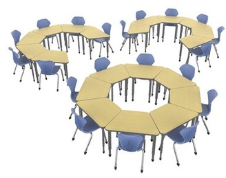 Marco Group Inc. Classroom Set: 20 Collaborative Desks & 20 Chairs