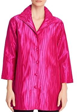 Caroline Rose Carolina Rose Textured Ruched-Collar Shirt