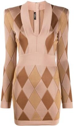Balmain V Neck Knitted Dress