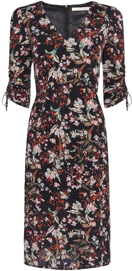 Oui Floral ruched sleeve v neck dress