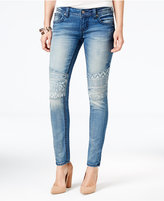 Miss Me Embroidered Medium Blue Wash Skinny Jeans