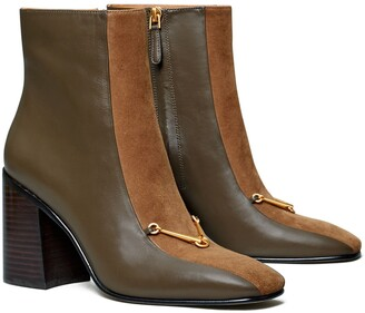 Tory Burch Equestrian Link Mixed-Materials Ankle Boot