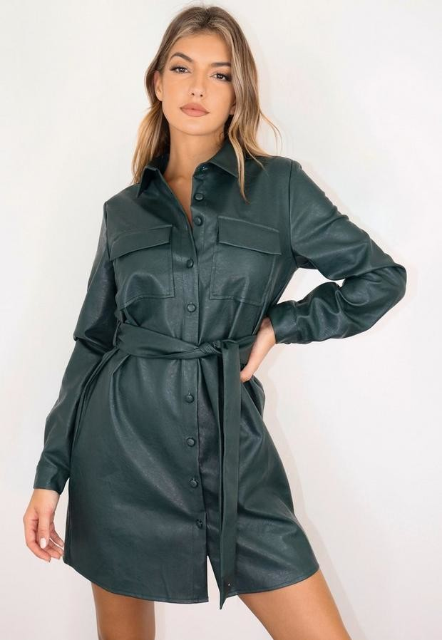 Missguided Tall Khaki Faux Leather Utility Pocket Belted Shirt Dress