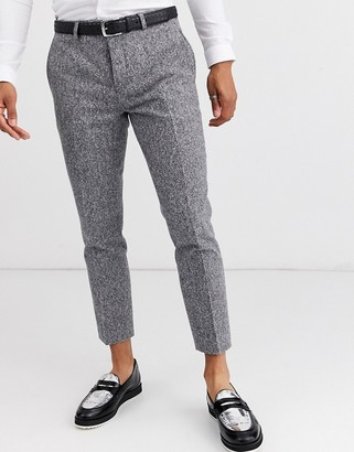 Twisted Tailor cropped tapered trousers in grey flec