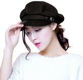 Siggi Womens Wool Newsboy Cabbie Cap Painter Hats Lady PU Visor Free Size Black