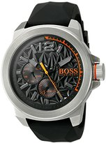 HUGO BOSS BOSS Orange Men's 'NEW YORK' Quartz Stainless Steel and Silicone Casual Watch, Color:Black (Model: 1513346)