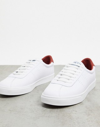 Superga 2843 back tab lace up trainers in white and brown