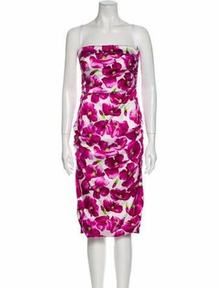 Dolce & Gabbana Silk Midi Length Dress White