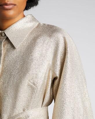 Rickie Freeman For Teri Jon Metallic Jacquard Puff-Sleeve Shirt Dress