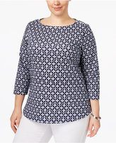 Charter Club Plus Size Cotton Printed Boat-Neck Top, Created for Macy's