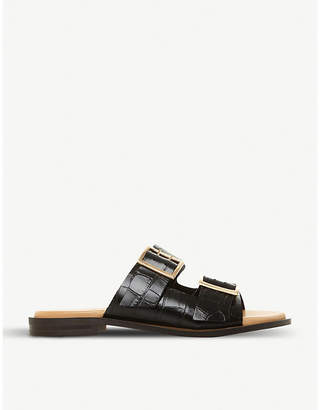 Dune Louizza croc-embossed leather sliders
