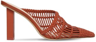 Cult Gaia 90mm Raya Woven Leather Mules