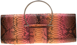 Salvatore Ferragamo Multicolour Python Leather Ring Handle Clutch