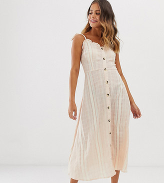 Wednesday's Girl midi cami button through dress in check