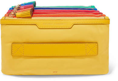 Anya Hindmarch Filing Cabinet Leather-trimmed Shell Pouch - Yellow
