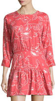 Current/Elliott 3/4-Sleeve Cutout Dress, Chrysanthemum Bandana Paisley