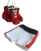 Kindstore Baby Photography Prop Boxing Costume Crochet Knitted Gloves Pants