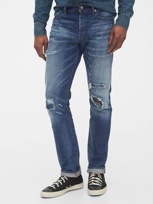 Gap 1969 Premium Selvedge Rip & Repair Slim Jeans