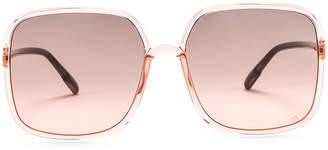 Christian Dior Stellaire Square Sunglasses in Coral & Gray Fuchsia | FWRD