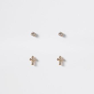 River Island Gold colour cross stud earrings 2 pack