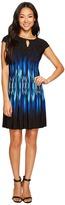 Tahari by Arthur S. Levine Petite Jersey Flame Print A-Line Dress Women's Dress