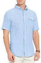 Daniel Cremieux Solid Washed Linen Short-Sleeve Woven Shirt