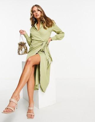 Pretty Lavish tie waist drape shirt midi dress in olive green