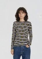 Proenza Schouler Ikat Flower Print Striped Tee Pale Blue/Acid Yellow Ikat Pansy Size: X-Small