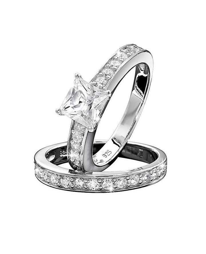 Fashion World Sterling Silver Cubic Zirconia Ring Set