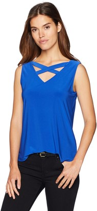 Nine West Women's Sleeveless ITY Blouse with Criss Cross Back Detail