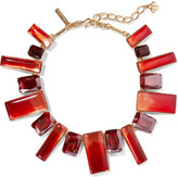 Oscar de la Renta Gold-plated, resin and crystal necklace