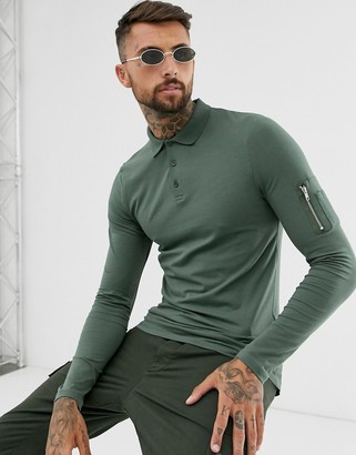 ASOS DESIGN skinny long sleeve polo shirt with MA1 pocket in khaki