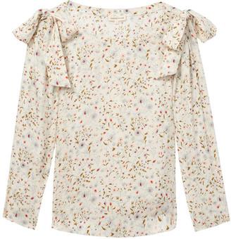 Rebecca Taylor Long sleeve Vivna silk tie top - UK14 - Natural/Pink/Green