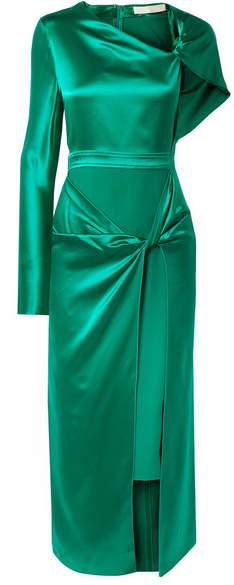 Dion Lee Asymmetric Knotted Silk-satin Midi Dress - Green