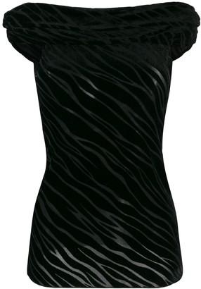 Emporio Armani Off-The-Shoulder Velvet Devore Top