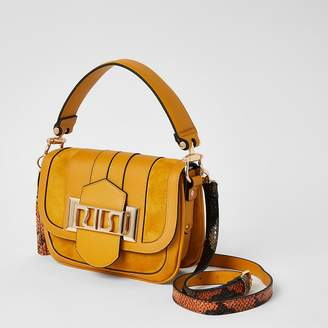 River Island Yellow RIRI buckle cross body satchel bag