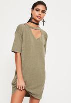 Missguided Khaki Ripped Oversized T Shirt Dress