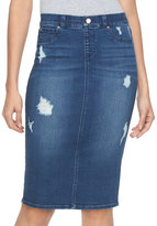 JLO by Jennifer Lopez Women's Destructed Denim Midi Pencil Skirt