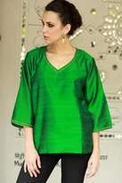 Embellished Silk Tunic Blouse from India, 'Grand Emerald'