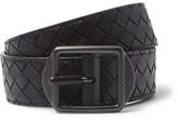 Bottega Veneta 3.5cm Navy Intrecciato Leather Belt - Navy
