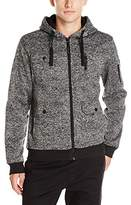 Southpole Men's Long Sleeve Hooded Full Zip Fleece in Marled with Utility Details
