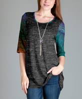 Aster Gray Contrast-Sleeve Scoop-Neck Tunic - Plus - Plus Too