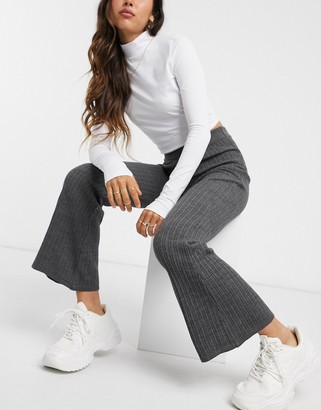 ASOS DESIGN two-piece knitted flare pants in gray