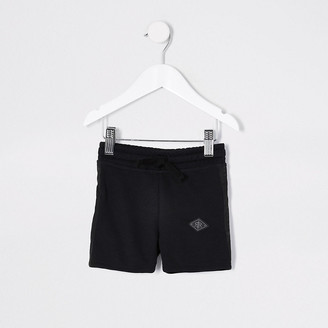 River Island Mini boys black pique shorts
