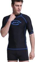 Dive & Sai Rash Guard in Mens UV Sunbock Fast Dry Top Shirt for water sports (, Bue Trim)
