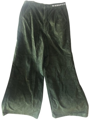 Lazy Oaf Green Cotton Trousers for Women