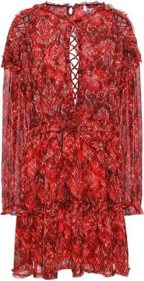 IRO Darling Open-back Printed Gauze Mini Dress