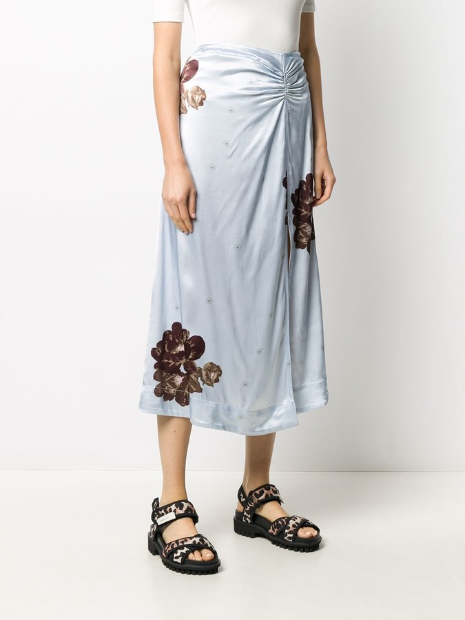 Thumbnail for your product : Ganni Floral Print Ruched Detail Skirt