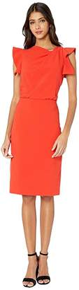 Halston Asymmetric Neck Dress (Lipstick) Women's Dress
